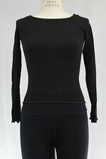 New Free People Womens Seamless Long Sleeve Ribbed Back Keyhole Top Black Ml $38