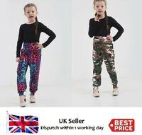 Girls Childrens Printed Harem Trousers Pants Kids Leggings Army & Multi Leopard