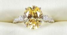 14K White Gold 4.30 TCW OVAL CUT VVS1 Fancy Yellow  Wedding Engagement Ring