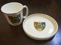 VINTAGE Schiff Scout Reservation, BSA, Porcelain Mug with Plate Historic Logo VG