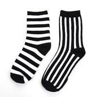 Men's Black and White Striped Socks Cool Classic Guys Wear Striped Socks 1Pair