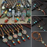 Retro Nepal Beads Tibetan Buddhist Mala Sweater Pendant Necklace Jewelry Women