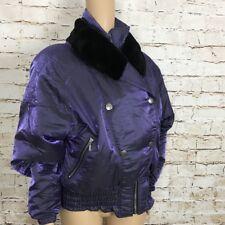 NILS Ski Wear Jacket Shiny Purple Faux Fur Neck Down Filled Women's Size 10 VTG