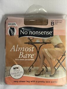 No Nonsense Almost Bare Very Sheer  B Beige Mist Sheer Toe Lace Panty Pantyhose