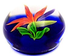 Beautiful GORDON SMITH Bright BIRD of PARADISE Flower Art Glass PAPERWEIGHT