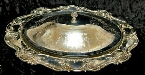 """Vintage Large  Silver Plated Serving Dish/Tureen with Glass Ovenware Insert 17"""""""