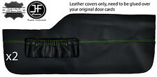 GREEN STITCH 2X FRONT LOWER DOOR CARD TRIM LEATHER COVERS FITS VW TYPE 3 T3
