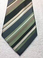 GEOFFREY BEENE MENS TIE GREEN BLACK BIEGE WHITE STRIPED 4 X 59