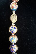 """Antique China Cloisonne Necklace Huge Beads Finest Quality 32"""""""