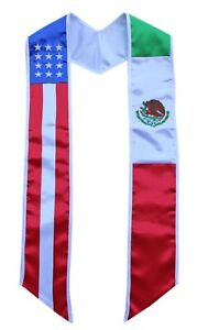 Mexican American Flag Graduation Sash Scarf Stole Ethnic Studies Latino Mexico