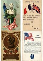 U.S.A PATRIOTIC FLAGS 49 Mostly EMBOSSED Vintage Postcards pre-1940 (PART 2.)