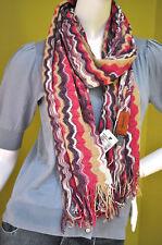MISSONI Italy Women's Zig Zag Gold Metallic Beige Purple Wool Scarf Shawl