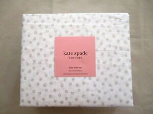 NEW 4pc Kate Spade King Sheet Set Contemporary Petite Floral in Silver Sparkles