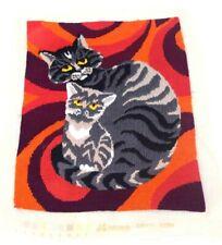 "Vintage 1970s Cat Cross Stitch Retro Kitty  Knit Tapestry Textile Art 13.5"""