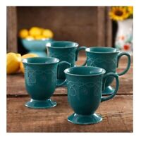 4-Pack, The Pioneer Woman Cowgirl Elegant Vintage Lace 13.9oz Mug Set, Teal