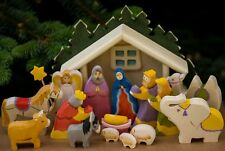 Nativity Wooden Set , Christmas set of 15 hand painted carved figurines