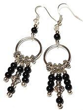 Long Silver Black Chandelier Hoop Earrings Glass Bead Drop Dangle Gypsy Hippy