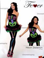 Ladies Sexy Neon Skeleton Bones Halloween Fancy Dress Adult Costume Small 8-10