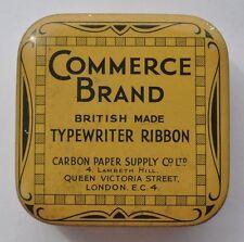 1930s UK Britain COMMERCE BRAND  Typewriter Ribbon Empty Tin Box