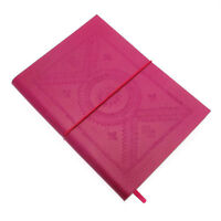 Fair Trade Handmade Large Fuchsia Pink Embossed Leather Journal Notebook Diary