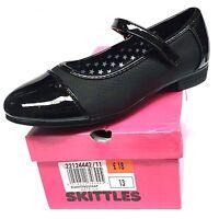 NEW GIRLS SKITTLES BLACK SHOES SCHOOL BALLET PUMPS EASY FASTENING SIZE 10-4