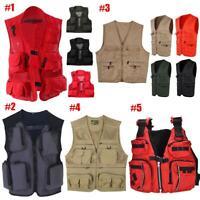 Men Multi-Pocket Fishing Mesh Vest Photography Quick-Dry Jacket Zip Waistcoat