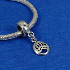 .925 Sterling Silver BEAR PAW CLAW Dangle Bead CHARM fits EUROPEAN Bracelet