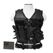 NcStar CTV2916B Tactical MOLLE LE WEB X-Draw Vest w/Pistol Holster& Patch Black