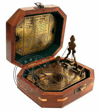 Maritime Vintage Brass Pendulum Sundial Antique Gilbert Compass With Wooden Box