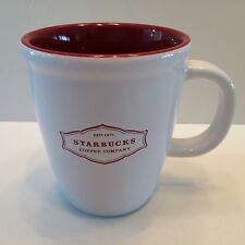 2006 Starbucks Est 1971 Abbey 13 Oz Mug Coffee Cup White/Red Inside Letters EUC