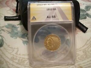 1912 GOLD INDIAN $5 - ANACS AU 55 - HALF EAGLE - NICE STRIKE & GOLD LUSTER