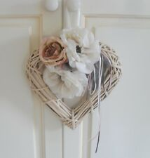CREAM WICKER FLOWER HEART WREATH, Pink Grey DOOR HANGER, Artificial Flowers 30cm