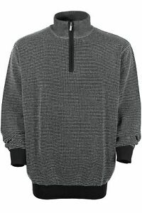 Kitaro Pull Tricoté Pull Col Montant Coton Noir Homme Taille Plus