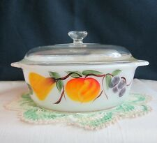 FIRE KING GAY FAD FRUITS 1 1/2 QT. CASSEROLE/BAKER-W/LID-HANDPAINTED PEACHES...