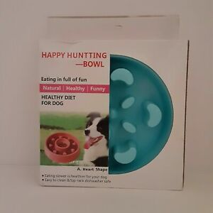 Happy Hunting Pet Dog Slow Speed Feed Bowl Healthy Diet Eating Slower Fun New
