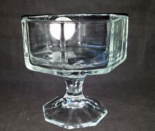 1 Indiana Glass Clear Compote Large Dessert Sundae Candy Dish Bowl Octagon Craft