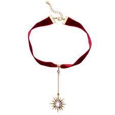 Modern Masino Red Dangling Star Rhinestone Cloth Collar Necklace