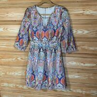 Modcloth Lace & Mesh Pleated Paisley Fully Lined Midi Dress Side Zip SZ M