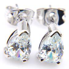 Drop Shaped Handmade White Fire Topaz Gemstone Silver Stud Hook Earrings