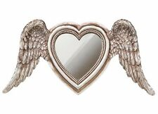 LAST CHANCE! Antiqued Silver Angel Wings Winged Heart Mirror Resin Alchemy SA6