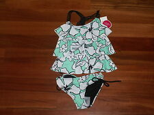 NWT JUSTICE GIRL SWIMSUIT 2 PC TANKINI GREEN BLACK WHITE FLOWER SIZE 5 NEW