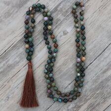 Long Boho Mala Gemstone Beaded Green Moss Agate Tassel Necklace