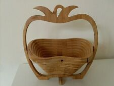 LARGE FOLDING OUT FRUIT BASKET, WOODEN, IN SHAPE OF AN APPLE. VGC
