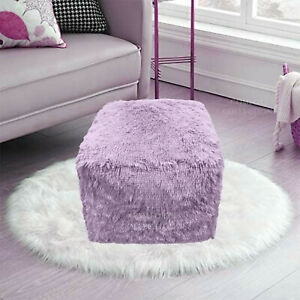 Teddy Foot Rest Stool Cuddles Chunky Chair Cube Footstool Pouf Bean Bag Lilac