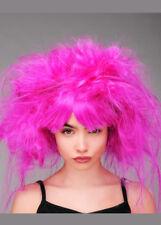 Womens Backcombed Neon Purple Magenta Princess Wig