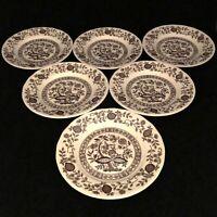 "Vintage Royal Art Pottery Brown Onion 7"" Salad/Sandwich Plate Set of 6 England"