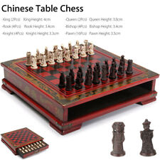 32Pcs/Set Vintage Contemporary Chess Resin Chinese With Wooden Table Games Gifts
