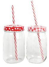 Retro Clear Glass Drinking Jar With Lid And Straw ~ Red Design Vary