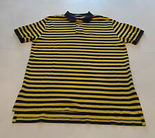 Polo Ralph Lauren Mens Shirt Large 100% Mesh Cotton Yellow Navy Striped Casual