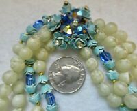 RARE 4 STRANDS HASKELL? GLASS BEAD NECKLACE WHITE,TURQUOISE,COBOLT BLUE AB'S